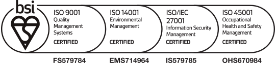 Conforming to ISO 9001, 14001, 27001 and 45001